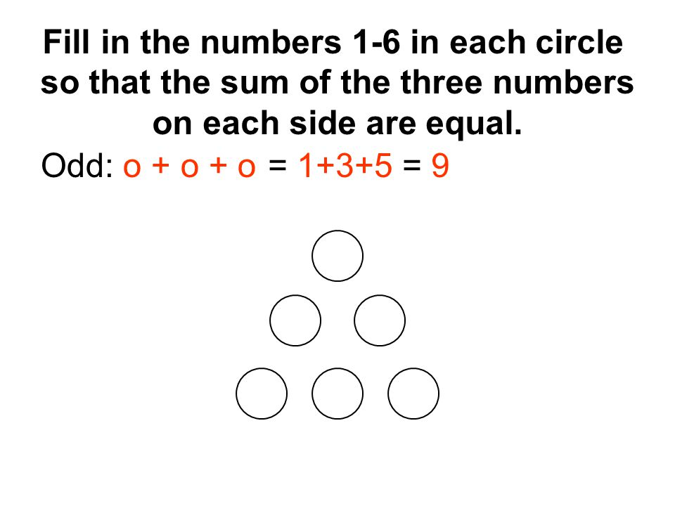 Odd: o + o + o= 1+3+5 = 9 Fill in the numbers 1-6 in each circle so that the sum of the three numbers on each side are equal.