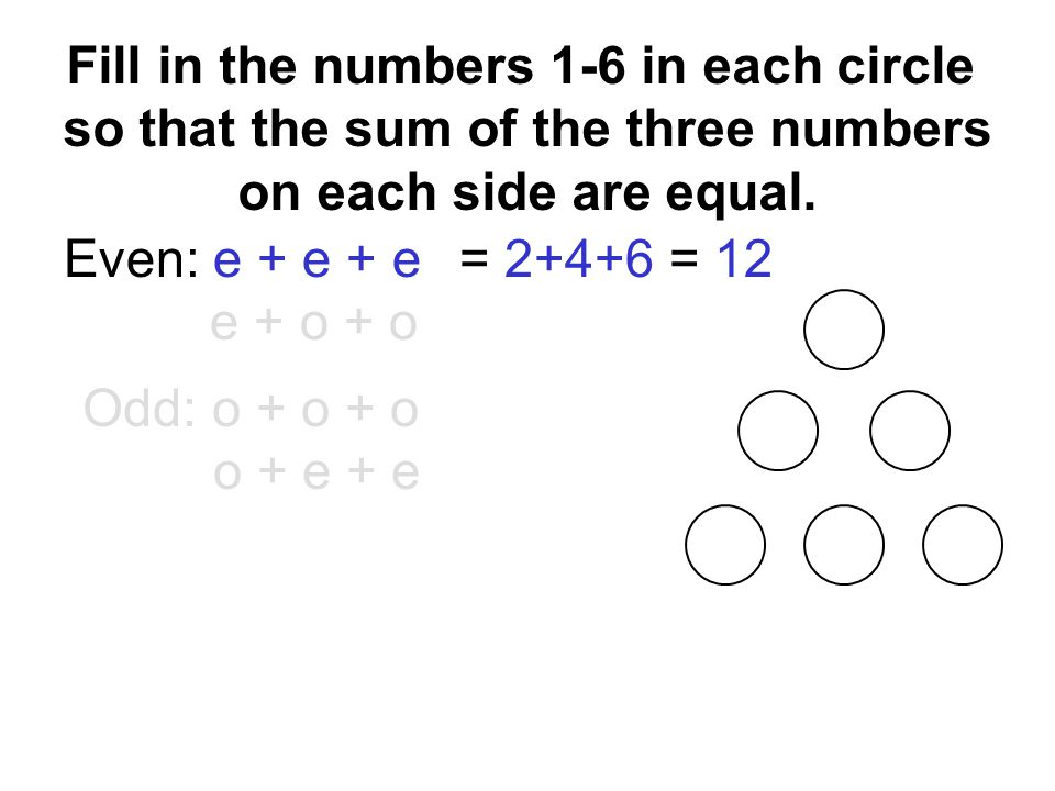 Even: e + e + e e + o + o Odd: o + o + o o + e + e = 2+4+6 = 12 Fill in the numbers 1-6 in each circle so that the sum of the three numbers on each side are equal.