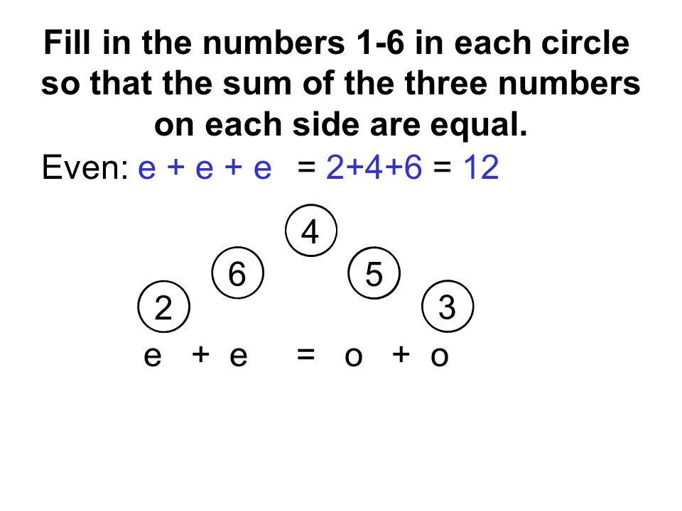 Even: e + e + e= = 12 e + e = o + o Fill in the numbers 1-6 in each circle so that the sum of the three numbers on each side are equal.