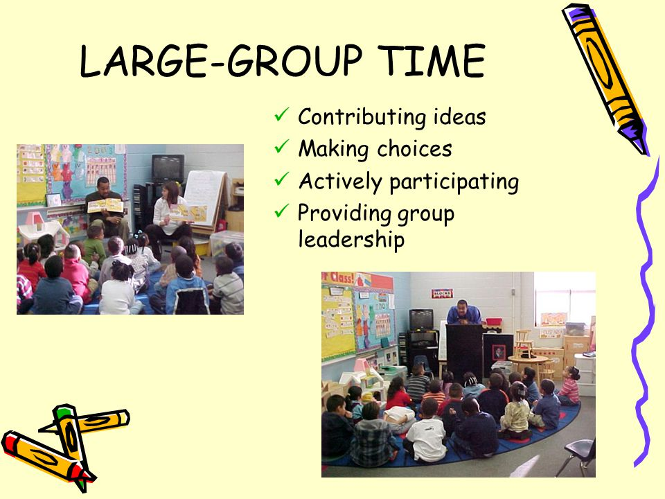 LARGE-GROUP TIME Contributing ideas Making choices Actively participating Providing group leadership