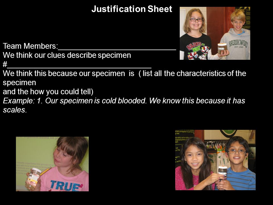 4 th grade student Brookwood Elementary School Student examples of Science Lab journal reflection