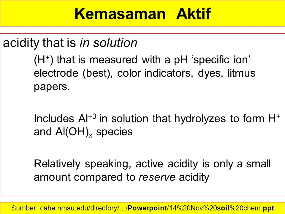 Kemasaman Aktif acidity that is in solution (H + ) that is measured with a pH 'specific ion' electrode (best), color indicators, dyes, litmus papers.