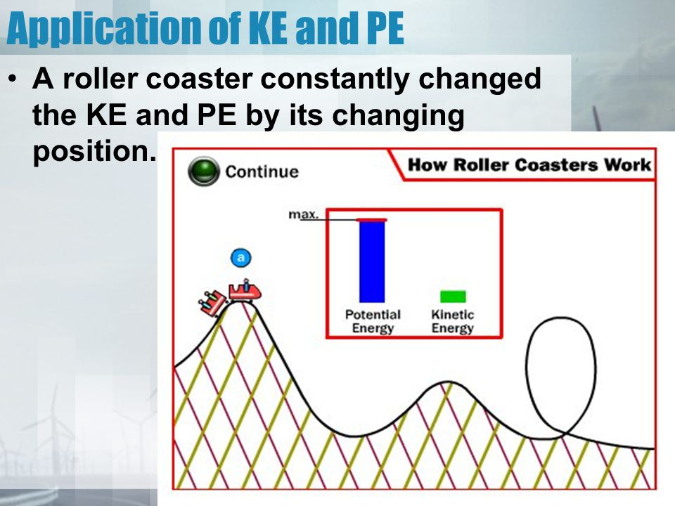 Application of KE and PE A roller coaster constantly changed the KE and PE by its changing position.