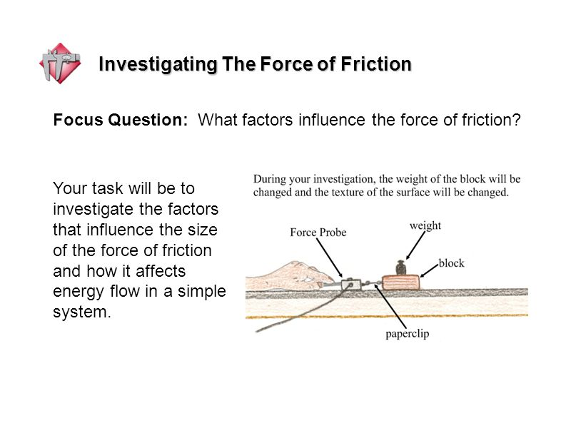 Investigating The Force of Friction Your task will be to investigate the factors that influence the size of the force of friction and how it affects energy flow in a simple system.