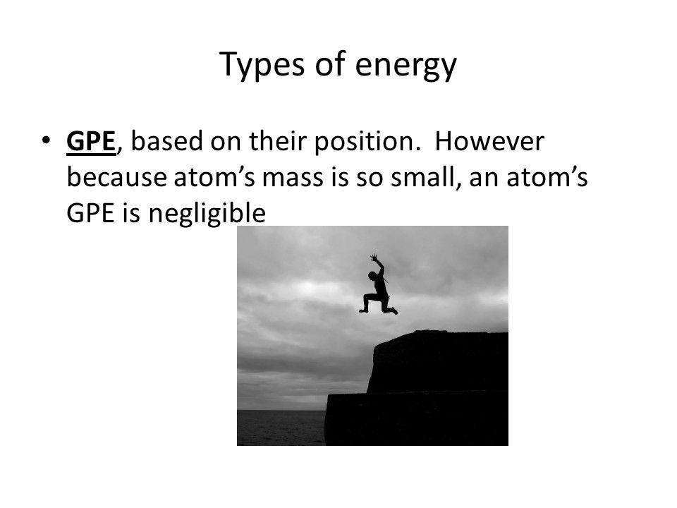 Types of energy GPE, based on their position.
