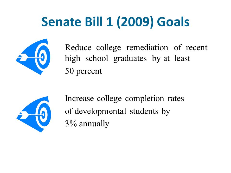 Senate Bill 1 (2009) Goals Reduce college remediation of recent high school graduates by at least 50 percent Increase college completion rates of deve
