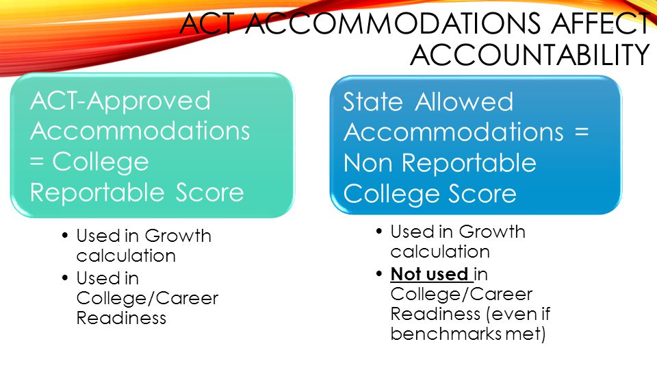 5 ACT ACCOMMODATIONS AFFECT ACCOUNTABILITY Used in Growth calculation Used in College/Career Readiness ACT-Approved Accommodations = College Reportabl