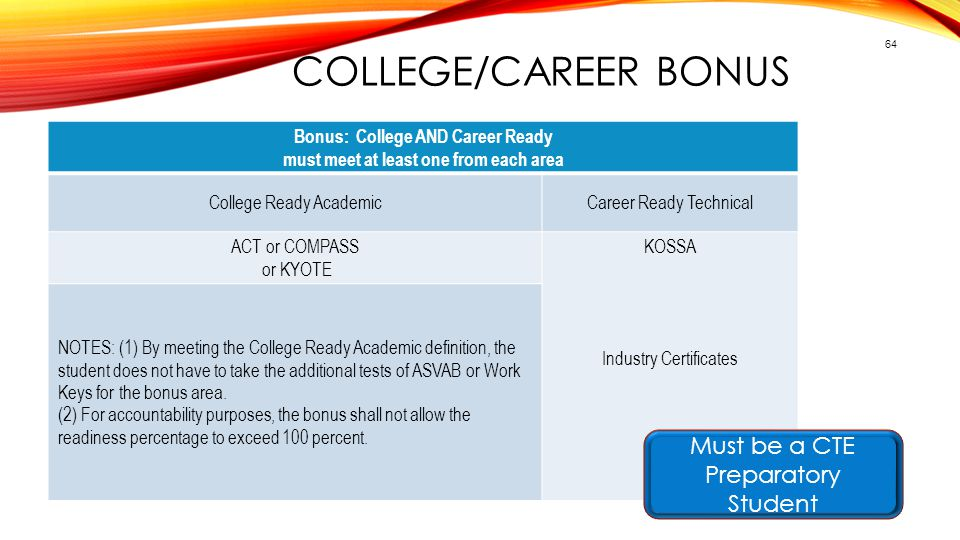 COLLEGE/CAREER BONUS 64 Bonus: College AND Career Ready must meet at least one from each area College Ready AcademicCareer Ready Technical ACT or COMP