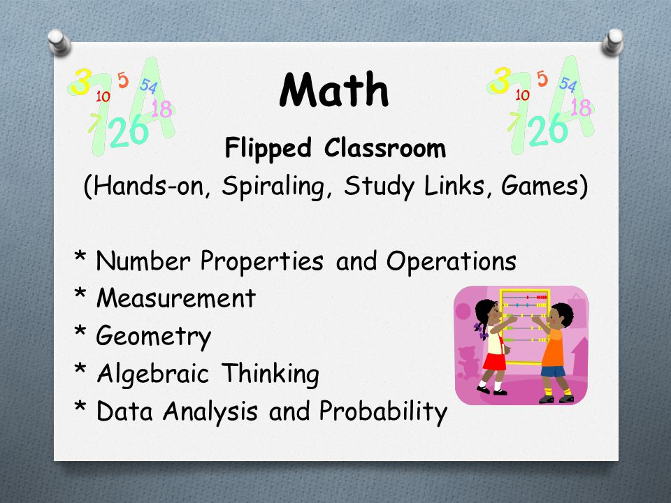 Math Flipped Classroom (Hands-on, Spiraling, Study Links, Games) * Number Properties and Operations * Measurement * Geometry * Algebraic Thinking * Data Analysis and Probability