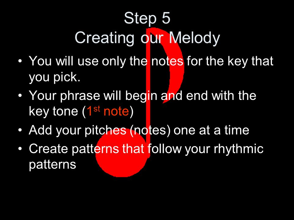 Step 5 Creating our Melody You will use only the notes for the key that you pick.