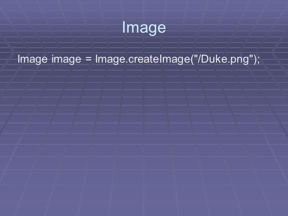 Image Image image = Image.createImage( /Duke.png );