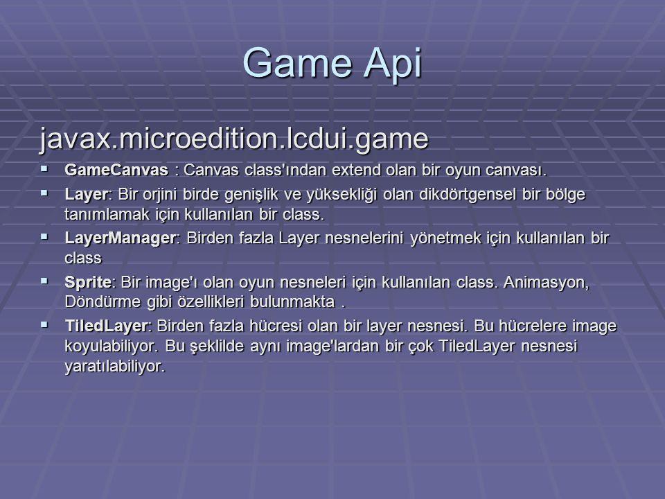 Game Api javax.microedition.lcdui.game  GameCanvas : Canvas class ından extend olan bir oyun canvası.