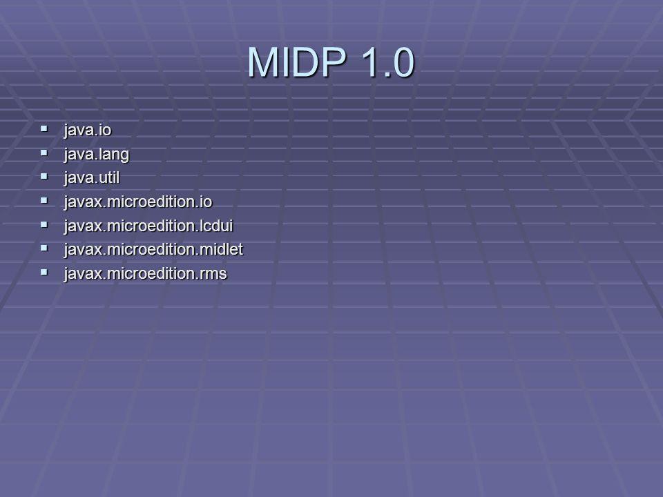 MIDP 1.0  java.io  java.lang  java.util  javax.microedition.io  javax.microedition.lcdui  javax.microedition.midlet  javax.microedition.rms