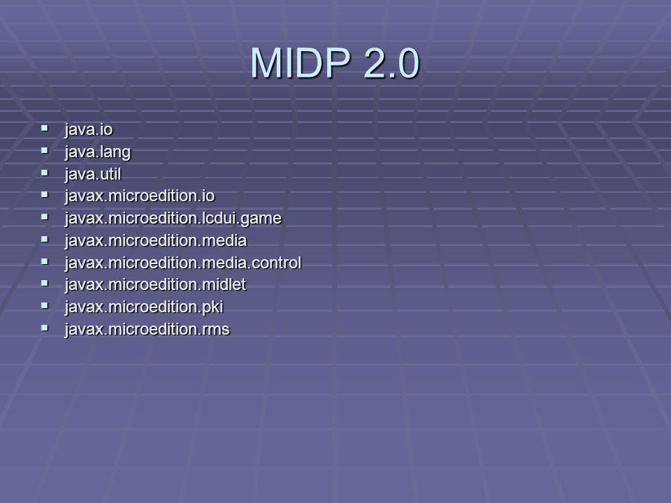 MIDP 2.0  java.io  java.lang  java.util  javax.microedition.io  javax.microedition.lcdui.game  javax.microedition.media  javax.microedition.media.control  javax.microedition.midlet  javax.microedition.pki  javax.microedition.rms