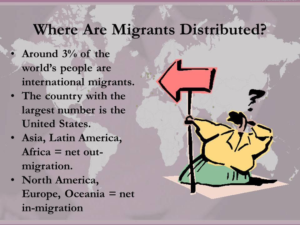 Where Are Migrants Distributed? Around 3% of the world's people are international migrants. The country with the largest number is the United States.