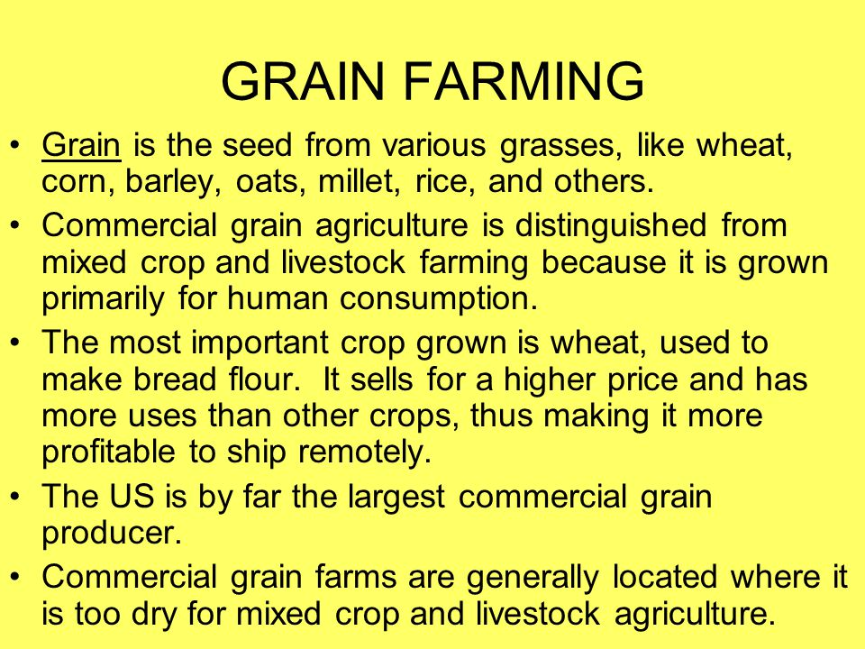 GRAIN FARMING Grain is the seed from various grasses, like wheat, corn, barley, oats, millet, rice, and others. Commercial grain agriculture is distin