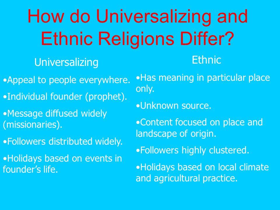 UNIVERSALIZING RELIGIONS 3 main universalizing religions: Christianity, Islam, and Buddhism.