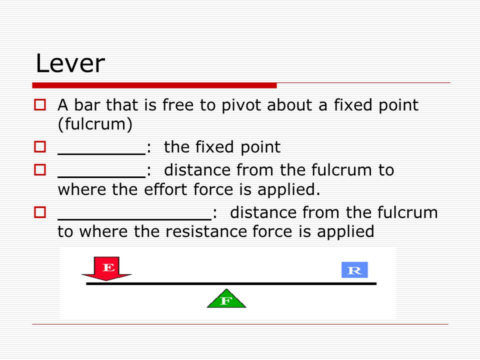 Lever  A bar that is free to pivot about a fixed point (fulcrum)  : the fixed point  : distance from the fulcrum to where the effort force is appli