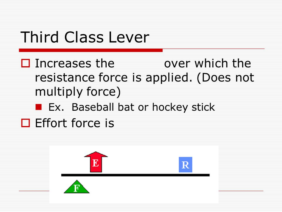 Third Class Lever  Increases the over which the resistance force is applied. (Does not multiply force) Ex. Baseball bat or hockey stick  Effort forc