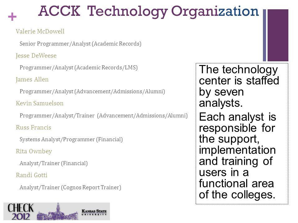 + ACCK Technology Organization Valerie McDowell Senior Programmer/Analyst (Academic Records) Jesse DeWeese Programmer/Analyst (Academic Records/LMS) J