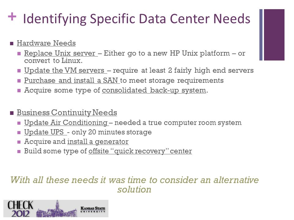 + Identifying Specific Data Center Needs Hardware Needs Replace Unix server – Either go to a new HP Unix platform – or convert to Linux.
