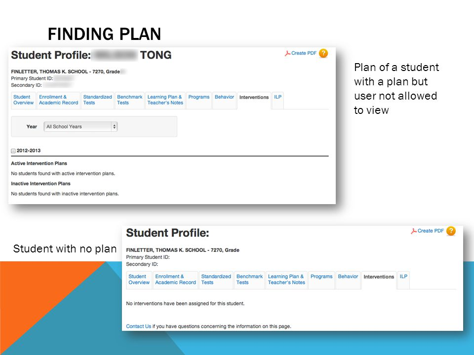 FINDING PLAN Plan of a student with a plan but user not allowed to view Student with no plan