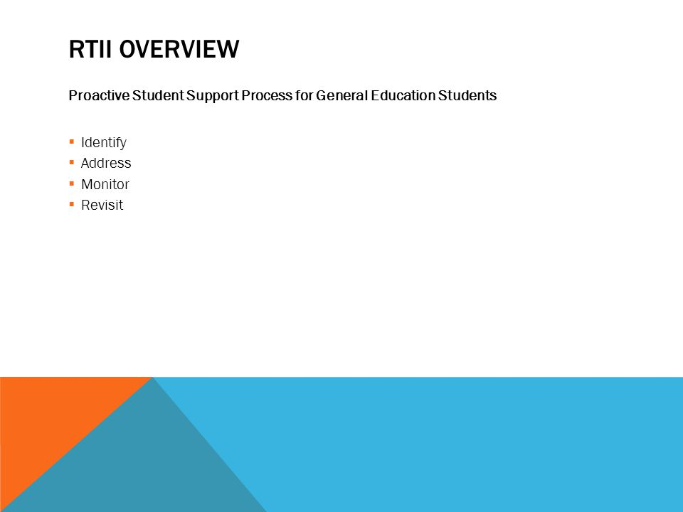 RTII OVERVIEW Proactive Student Support Process for General Education Students  Identify  Address  Monitor  Revisit