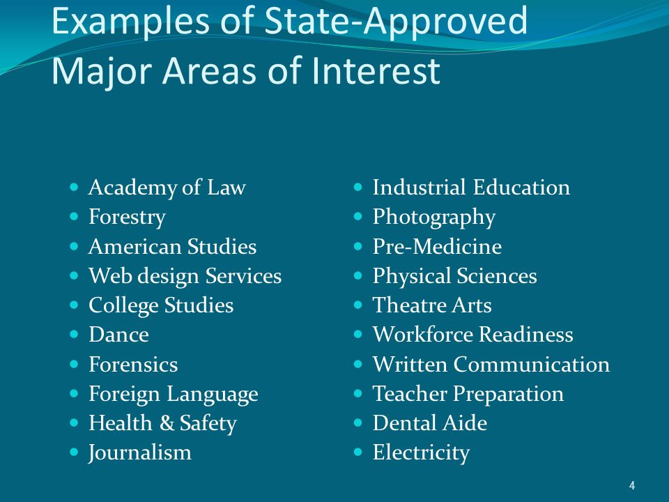 Examples of State-Approved Major Areas of Interest Academy of Law Forestry American Studies Web design Services College Studies Dance Forensics Foreign Language Health & Safety Journalism Industrial Education Photography Pre-Medicine Physical Sciences Theatre Arts Workforce Readiness Written Communication Teacher Preparation Dental Aide Electricity 4