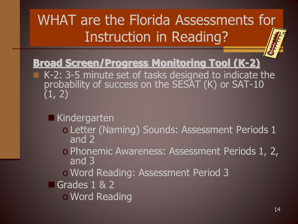 14 WHAT are the Florida Assessments for Instruction in Reading.