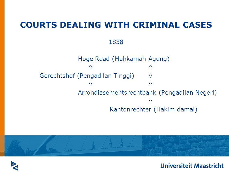 COURTS DEALING WITH CRIMINAL CASES 1838 Hoge Raad (Mahkamah Agung)  Gerechtshof (Pengadilan Tinggi)   Arrondissementsrechtbank (Pengadilan Negeri)  Kantonrechter (Hakim damai)