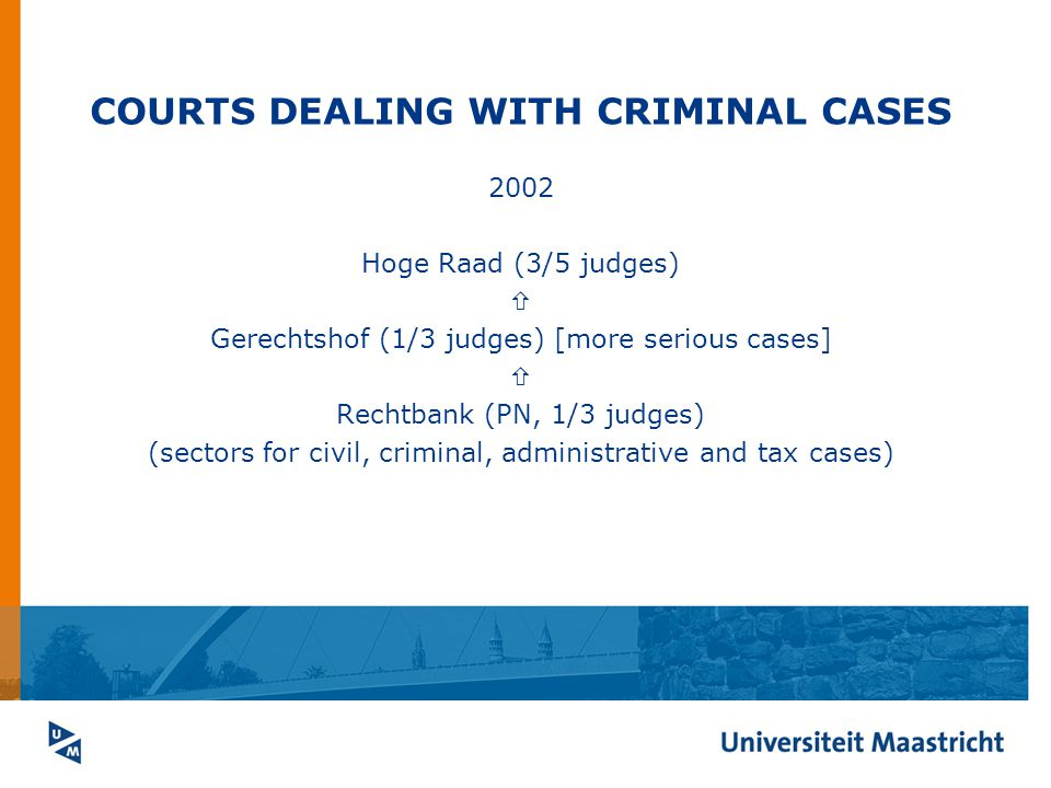 COURTS DEALING WITH CRIMINAL CASES 2002 Hoge Raad (3/5 judges)  Gerechtshof (1/3 judges) [more serious cases]  Rechtbank (PN, 1/3 judges) (sectors for civil, criminal, administrative and tax cases)