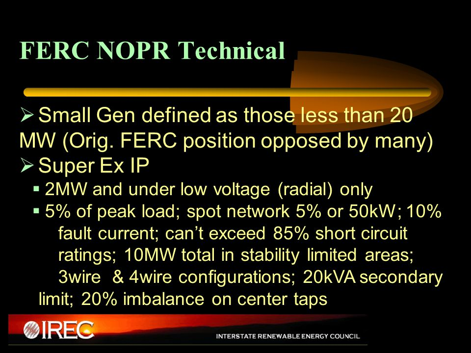 FERC NOPR Technical  Small Gen defined as those less than 20 MW (Orig.