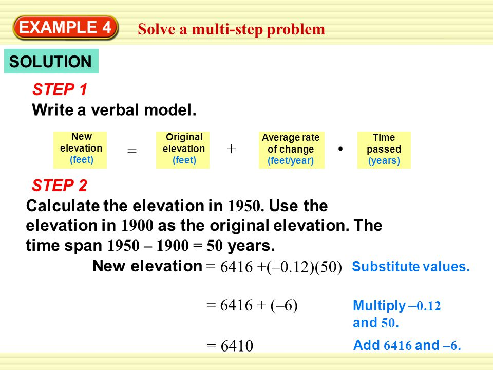 New elevation = = 6383.7 Multiply – 0.526 and 50.Substitute values.