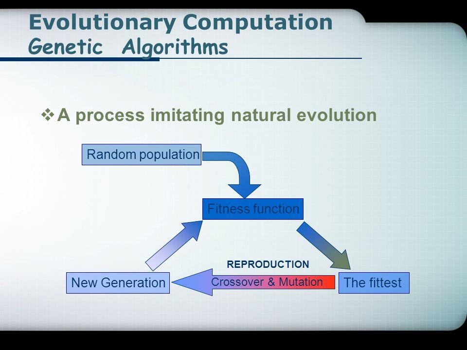 Evolutionary Computation Genetic Algorithms  A process imitating natural evolution Random population Fitness function The fittest Crossover & Mutatio