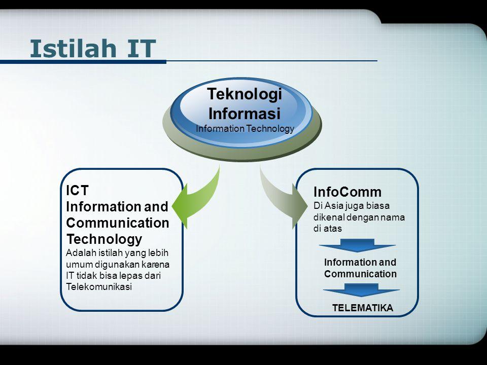 Istilah IT ICT Information and Communication Technology Adalah istilah yang lebih umum digunakan karena IT tidak bisa lepas dari Telekomunikasi Teknol