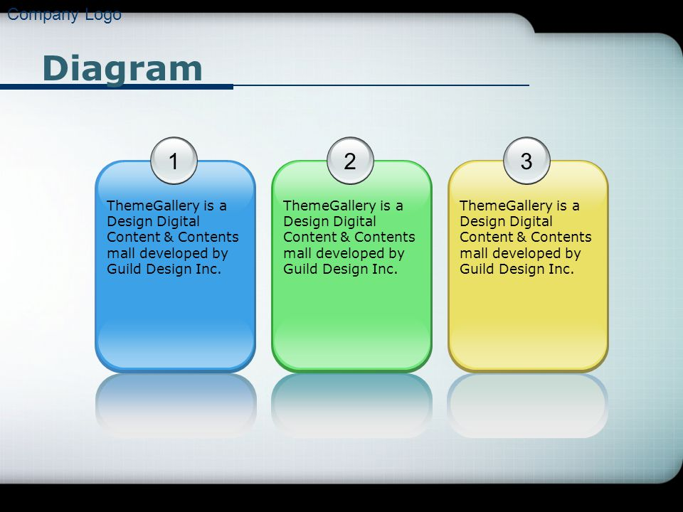 Company Logo Diagram 1 ThemeGallery is a Design Digital Content & Contents mall developed by Guild Design Inc. 2 3