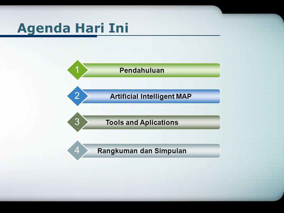 Agenda Hari Ini Pendahuluan 1 Artificial Intelligent MAP 2 Tools and Aplications 3 Rangkuman dan Simpulan 4