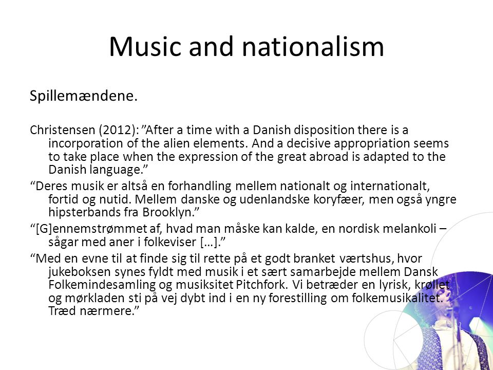 Music and nationalism Spillemændene.