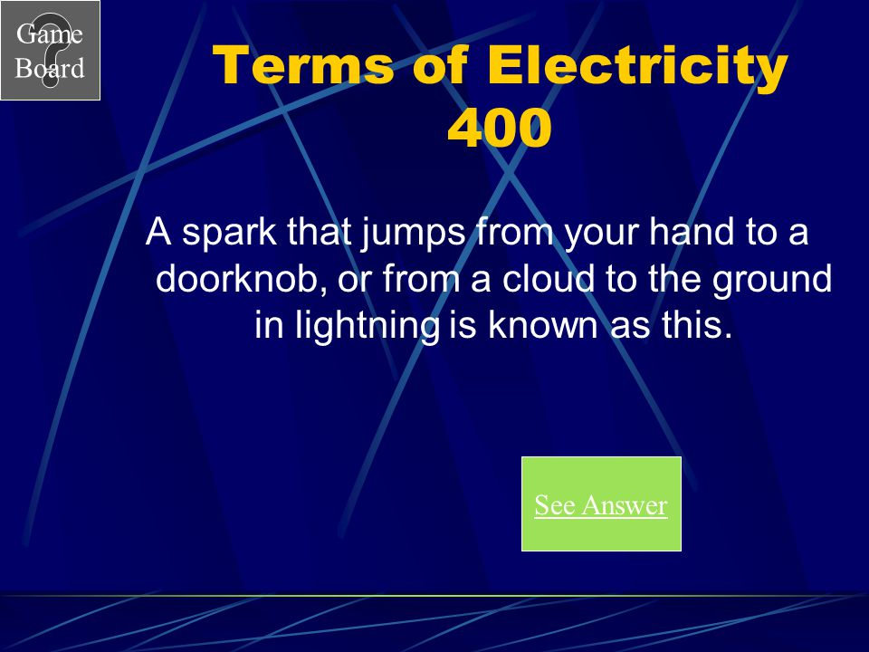 Game Board Terms of Electricity 300A What is an electric field. Score Board