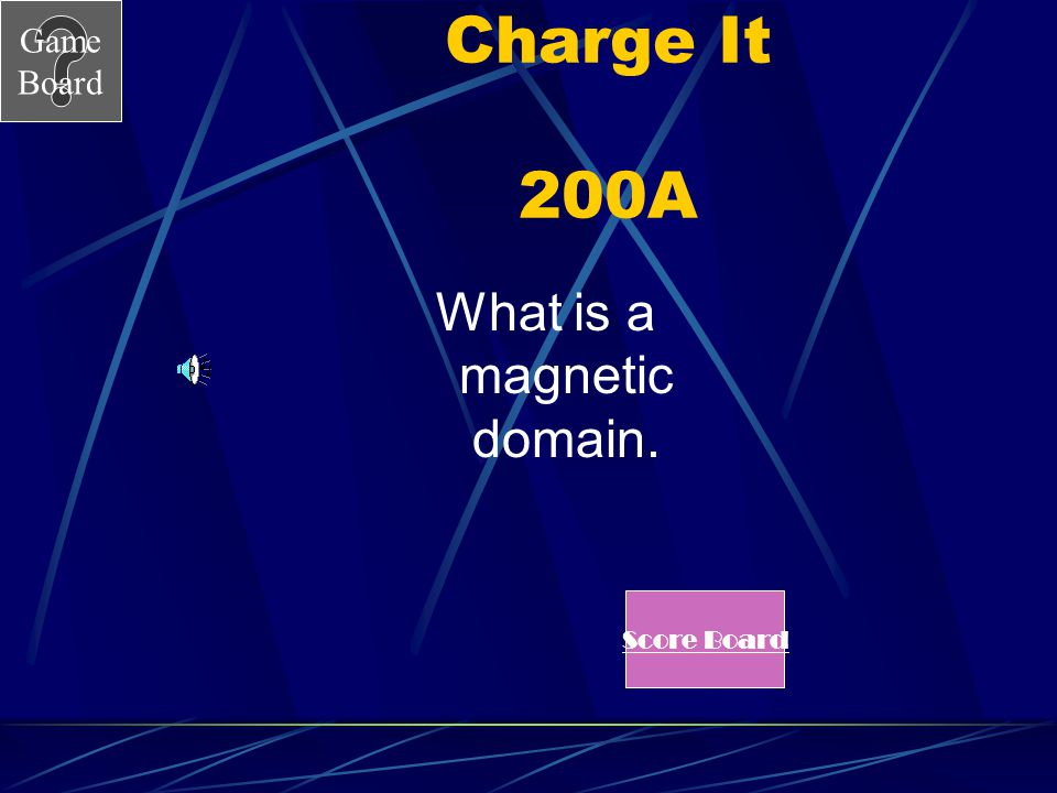 Game Board Charge It 200 A group of atoms that have their magnetic poles pointing in the same direction.