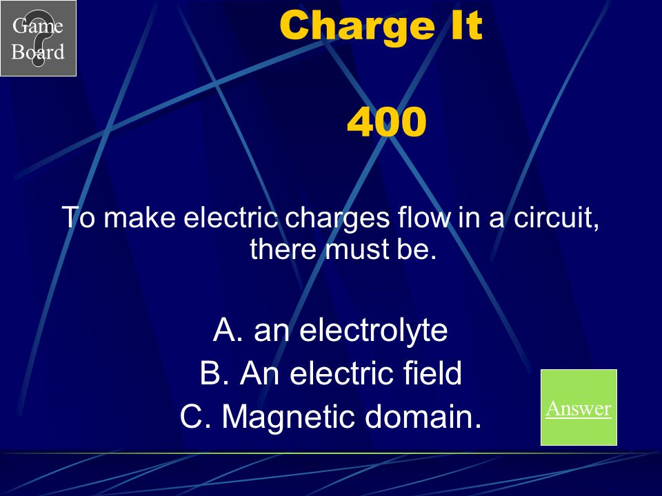 Game Board Charge It 300 A What are static and current electricity. Score Board