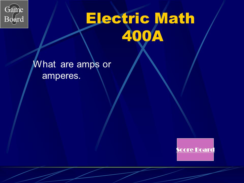 Game Board Electric Math 400 I represents current in V = I x R.