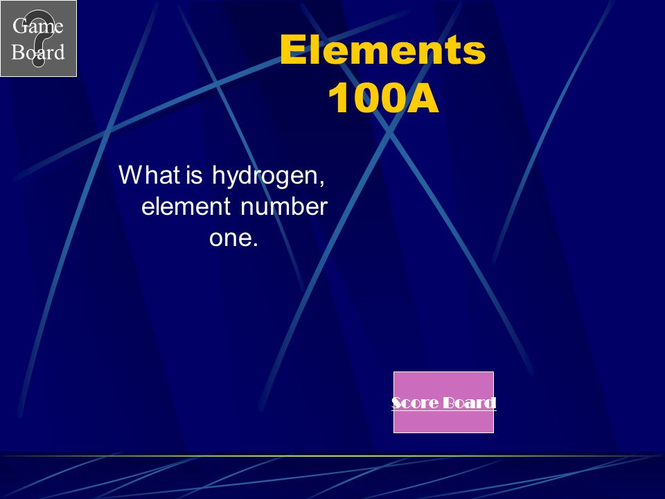Game Board Elements 100 The smallest atom that exists is. See Answer