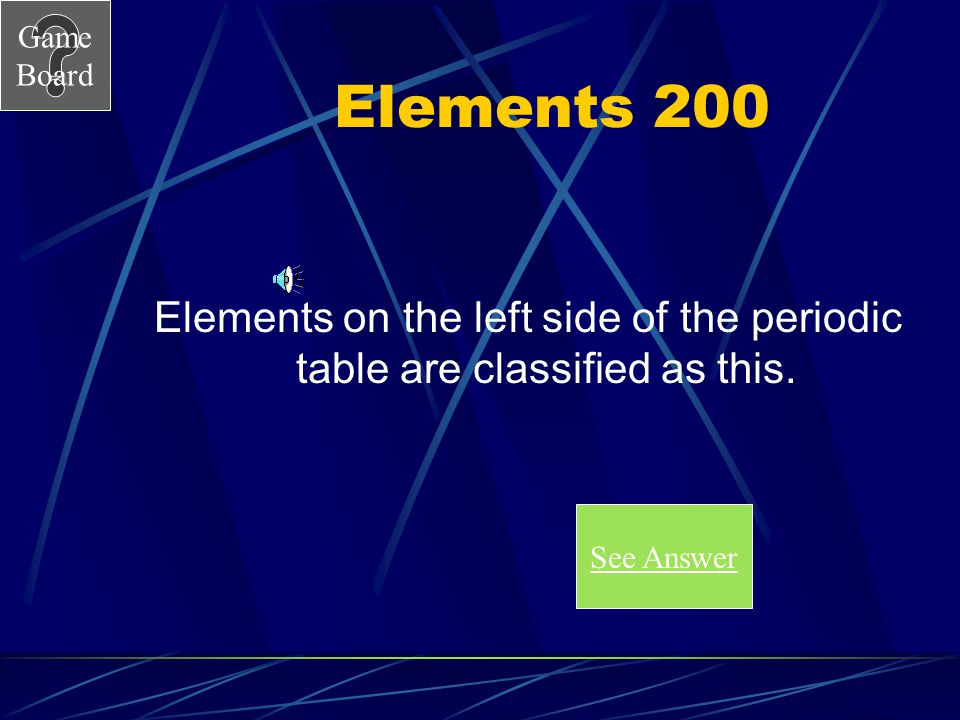 Game Board Elements 100A What is hydrogen, element number one. Score Board