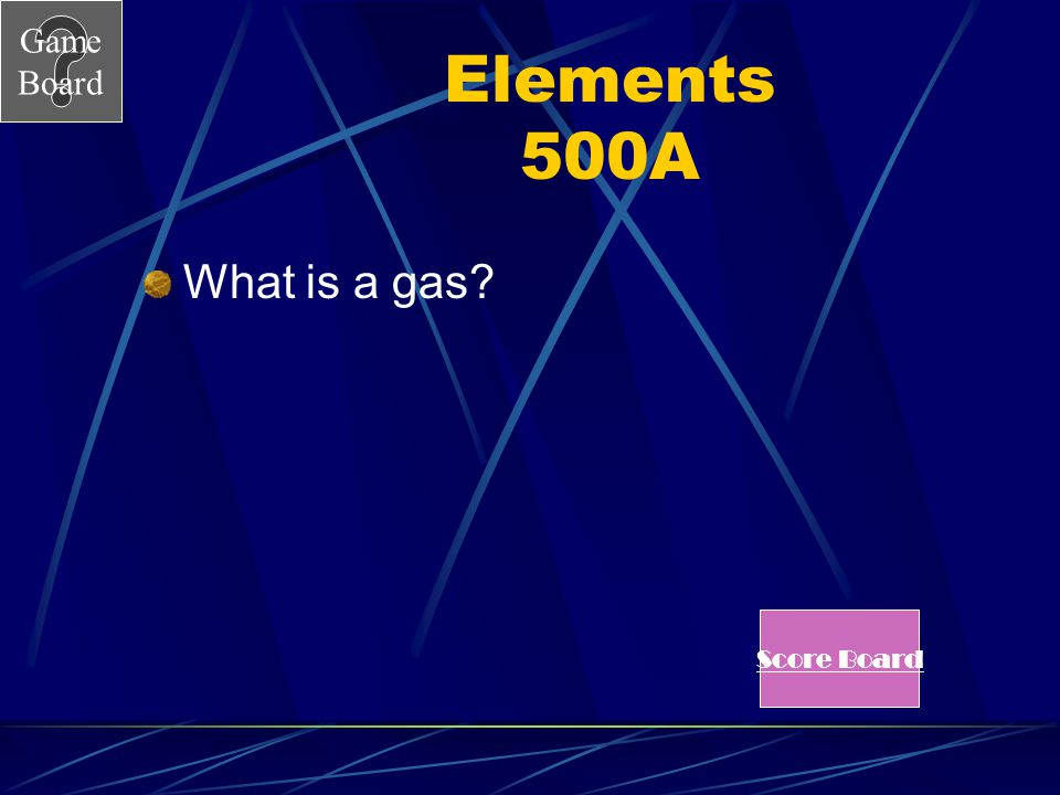 Game Board Elements 500 Most non metals are in this state at room temperature. See Answer