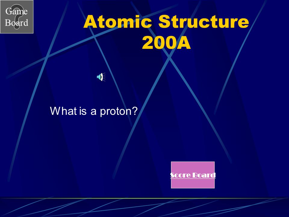 Game Board Atomic Structure 200 The atomic number is the number of these in an atom. Answer