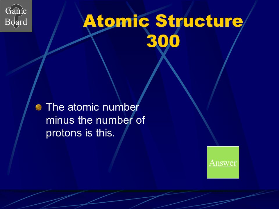 Game Board Atomic Structure 200A What is a proton Score Board