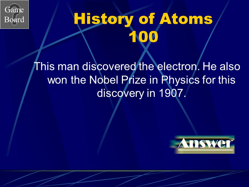 Game Board Chapter 4 Jeopardy History of the atom ElementsCompound Or Mixture Atomic Structure This and That about Matter 100 200 300 400 500 100 200 300 400 500 Score Board
