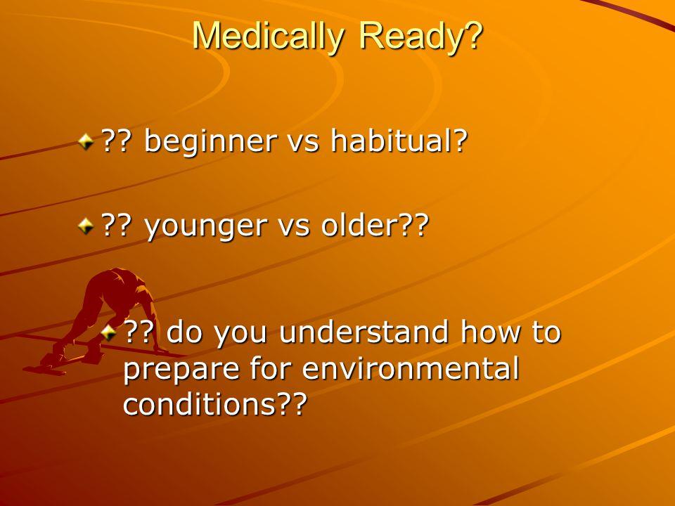 Medically Ready. ?. beginner vs habitual. ?. younger vs older?.