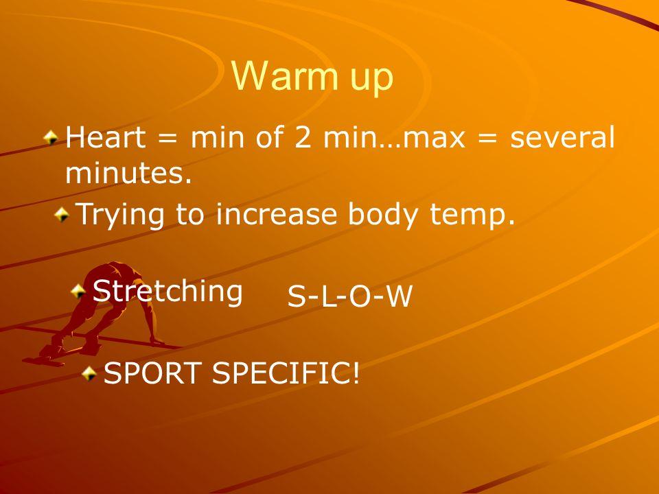 Warm up Heart = min of 2 min…max = several minutes.